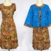 DRESS BATIK SOLO SHEILA COKLAT BIRU