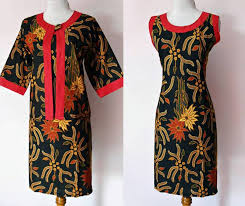 BAJU KERJA MODEL DRESS BATIK SOLO SOGAN