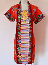 DRESS BATIK SOLO ENCIM KUTU ORANGE