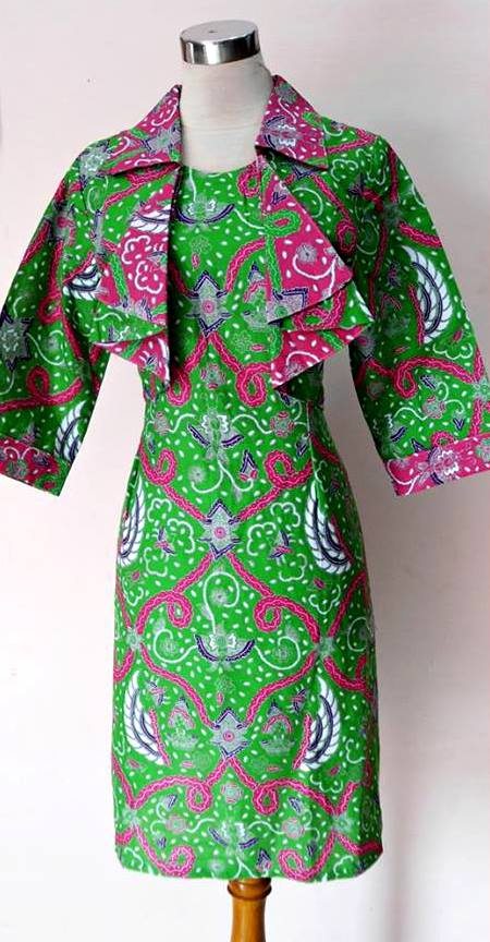 BAJU BATIK KERJA MODEL DRESS BOLERO ZIE ZIE HIJAU 2