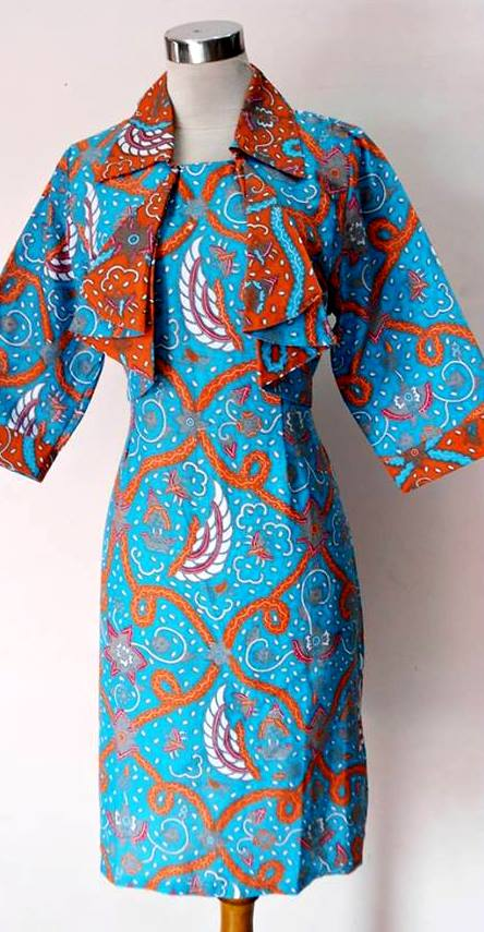 BAJU KERJA BATIK MODEL DRESS BOLERO ZIE ZIE BIRU