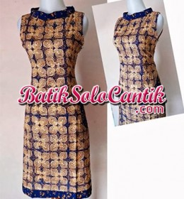 DRESS BATIK SOLO MODERN NANCY BIRU