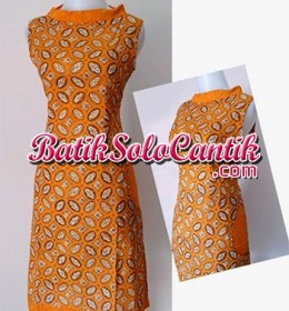DRESS BATIK SOLO MODERN NANCY ORANGE