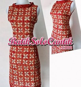 DRESS BATIK SOLO MODERN NANCY MERAH