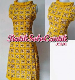 DRESS BATIK SOLO MODERN NANCY KUNING