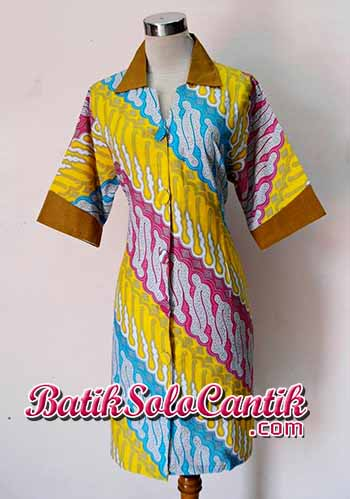 BAJU BATIK MODEL DRESS LENGAN PANJANG MOTIF PARANG