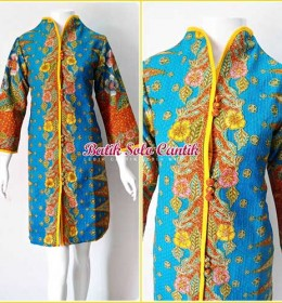dress batik model tindes emas