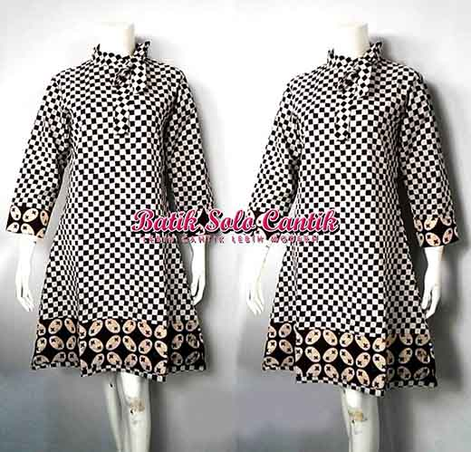 DRESS BATIK KELENGAN KOMBINASI BATIK SOGAN